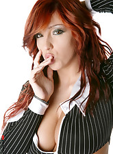 Sexy red hair secretary with huge breast