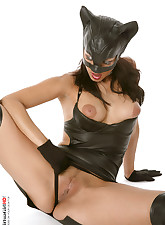Black leather cat mask and pants