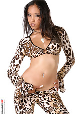 Leopard outfit for this half asian stripper
