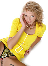 Ultra slim blond in flashy yellow dress